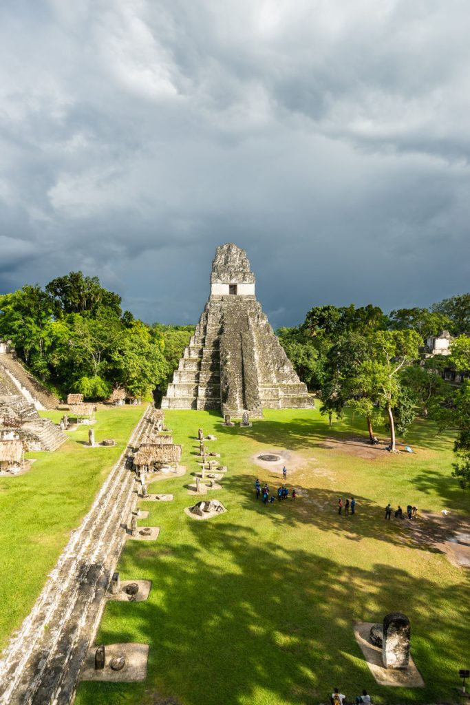 The Temple of the Great Jaguar and the Great Plaza at Tikal in Guatemala