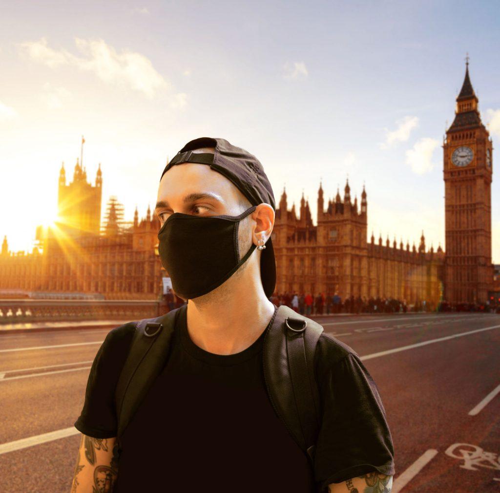 Tourist wearing a mask druing covid 19 pandemic