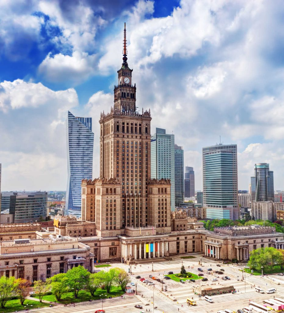 Warsaw, Poland. Aerial view Palace of Culture and Science