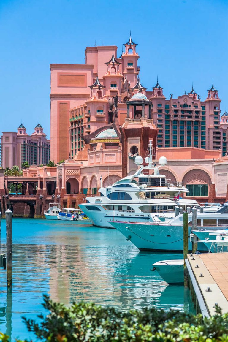 Yachts docked at Paradise lake, Atlantis, Bahamas