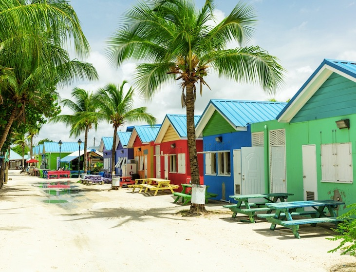 barbados colorful cottages on beach