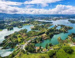 Panoramic view of Guatape- tourism reopening in colombia