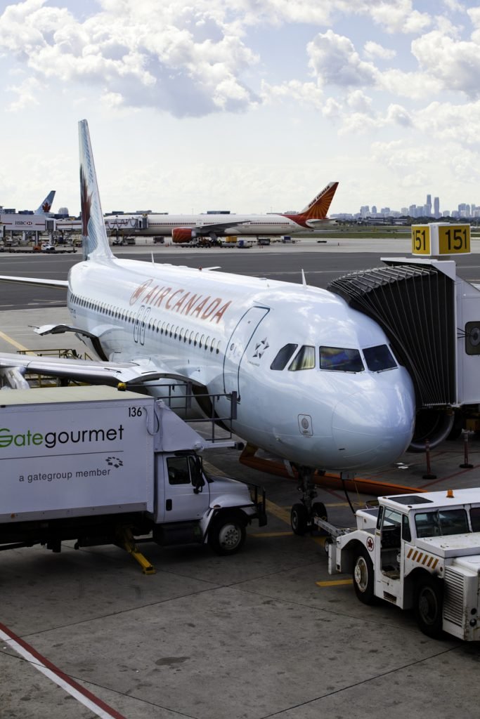 At Toronto Pearson International Airport, a commercial, Air Canada jet is being loaded and prepped for departure.