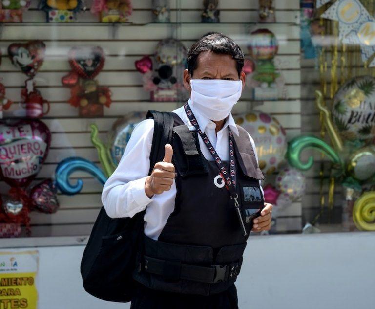 Security guard in Lima, Peru during quarantine