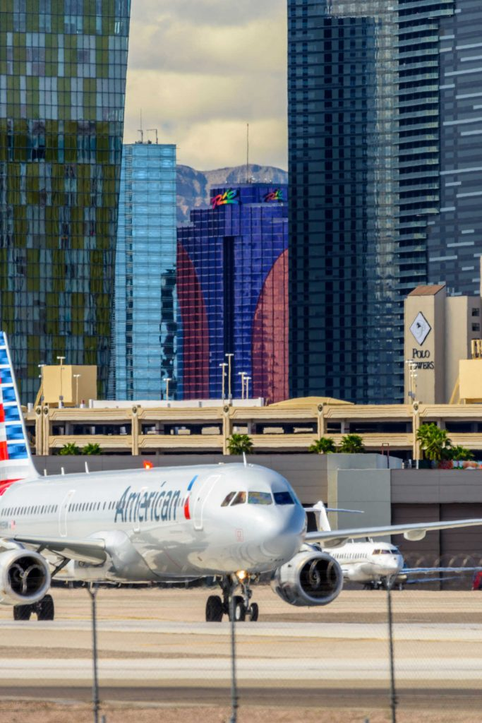 American airlines plane taking off in las vegas