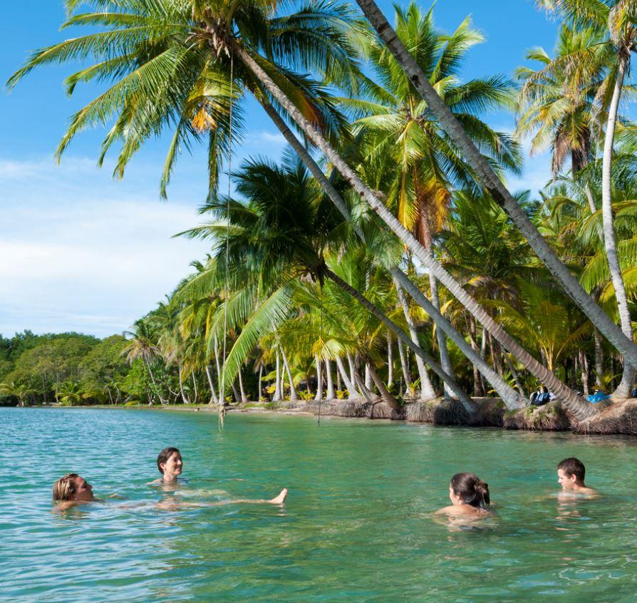 friends swimming in panama