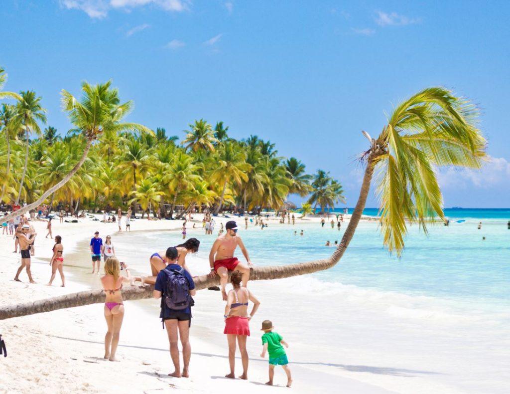 family on beach dominican republic