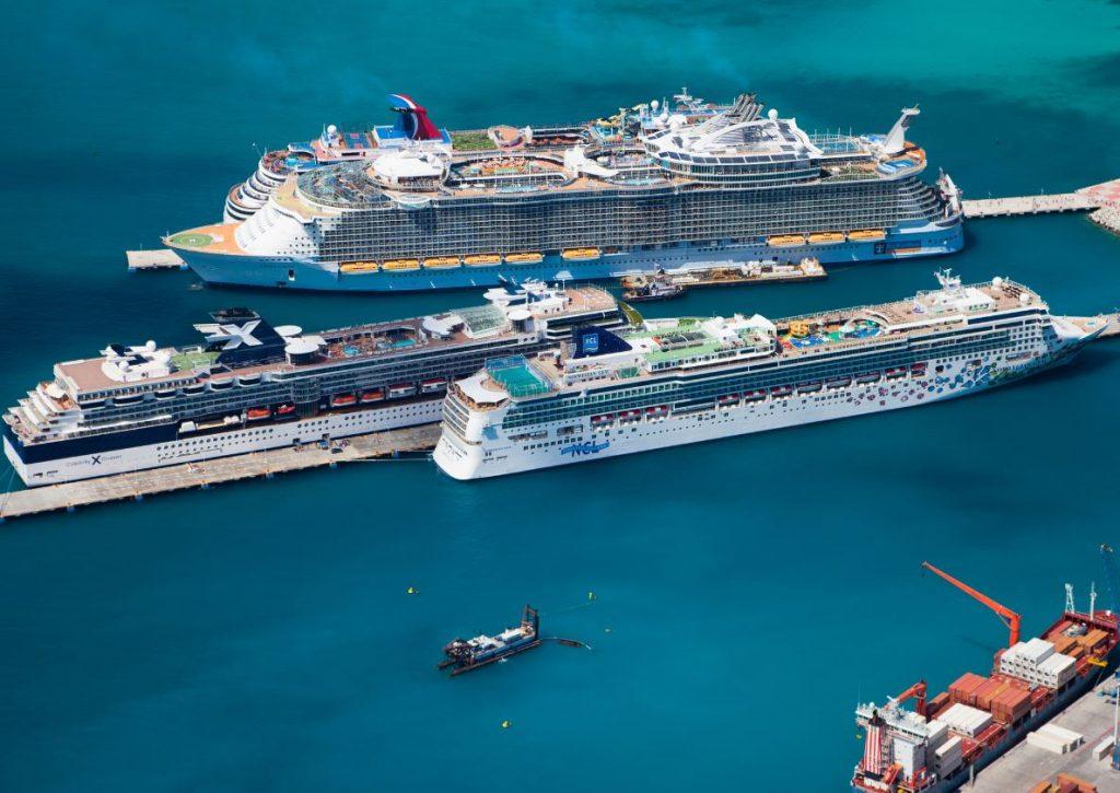 4 cruise ships docked