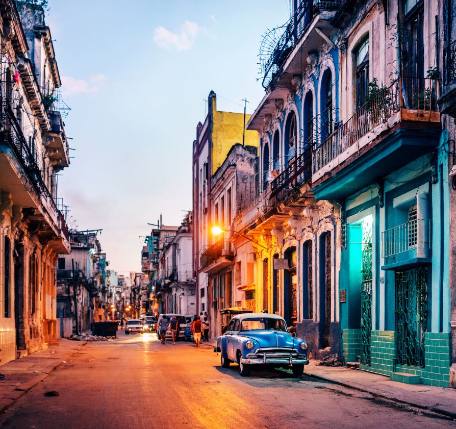 Cuban Street with classic car