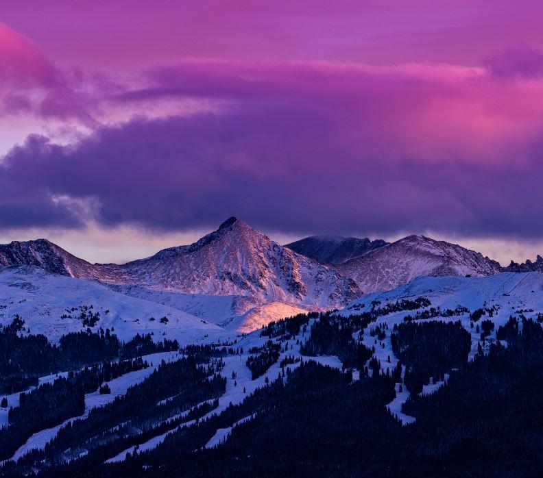 Sunset over ski resort