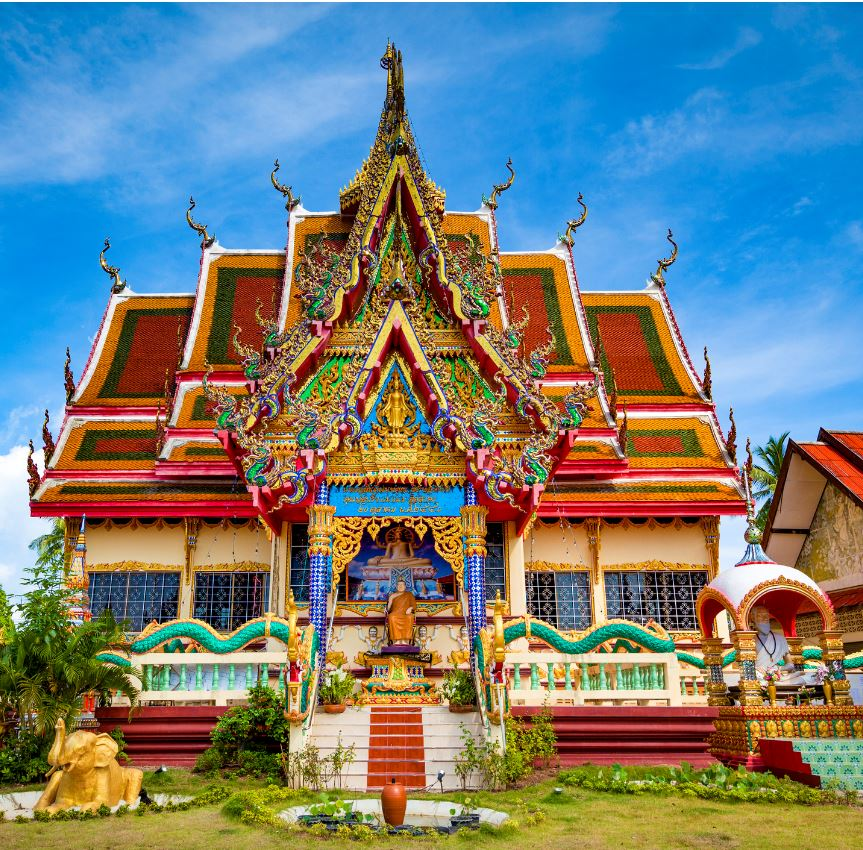 colorful buddhist temple at samui island, thailand.