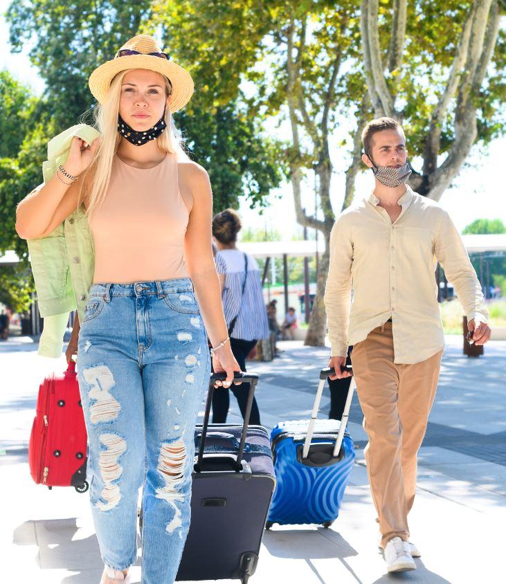 couple luggage masks