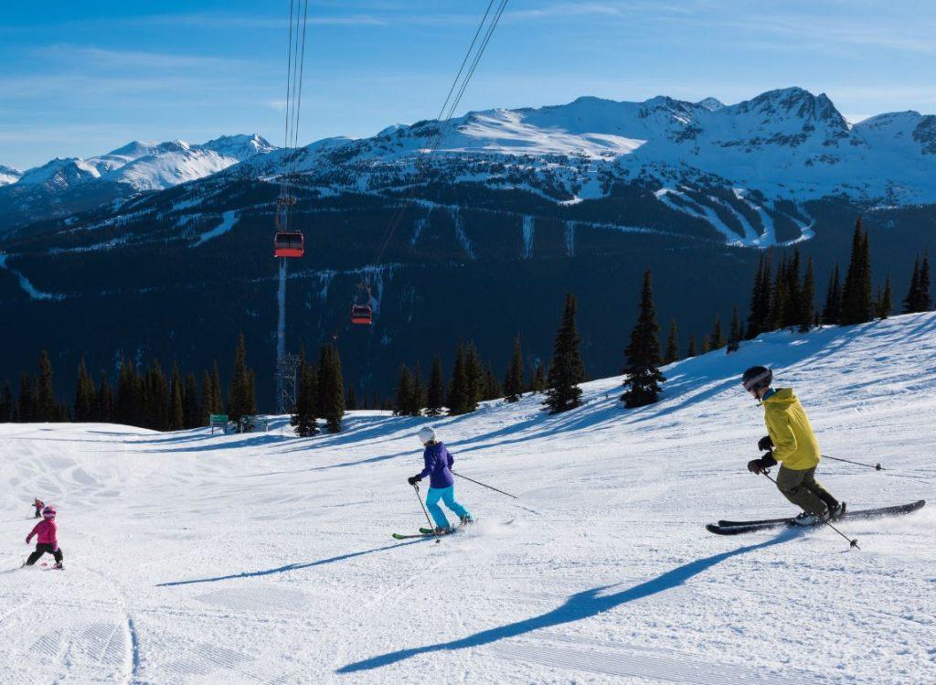 Skiers Ski lift