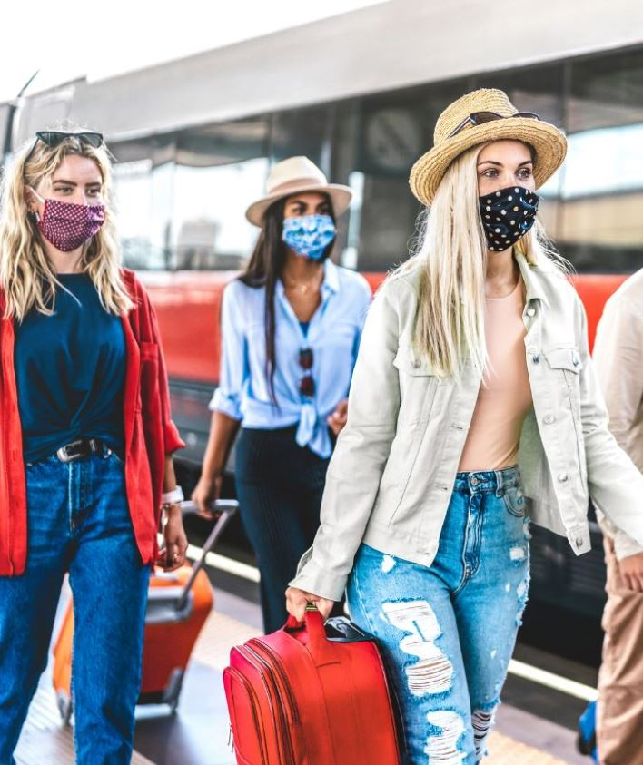friends wearing masks traveling