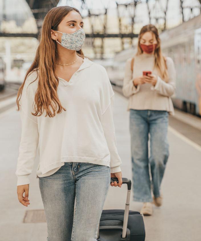 girlfriends travel masks train
