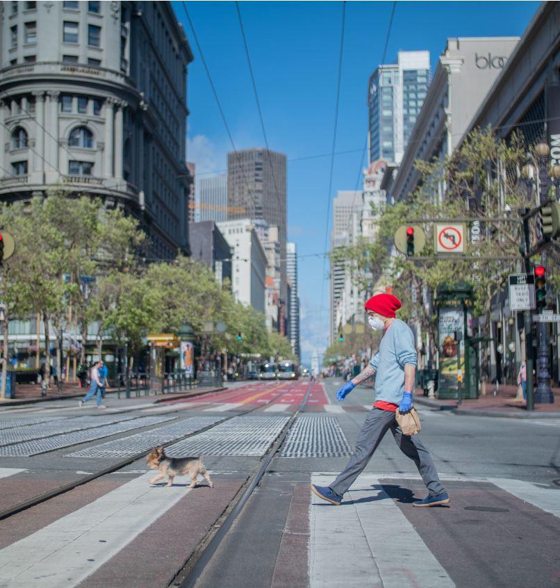man walking dog wear mask san francisco