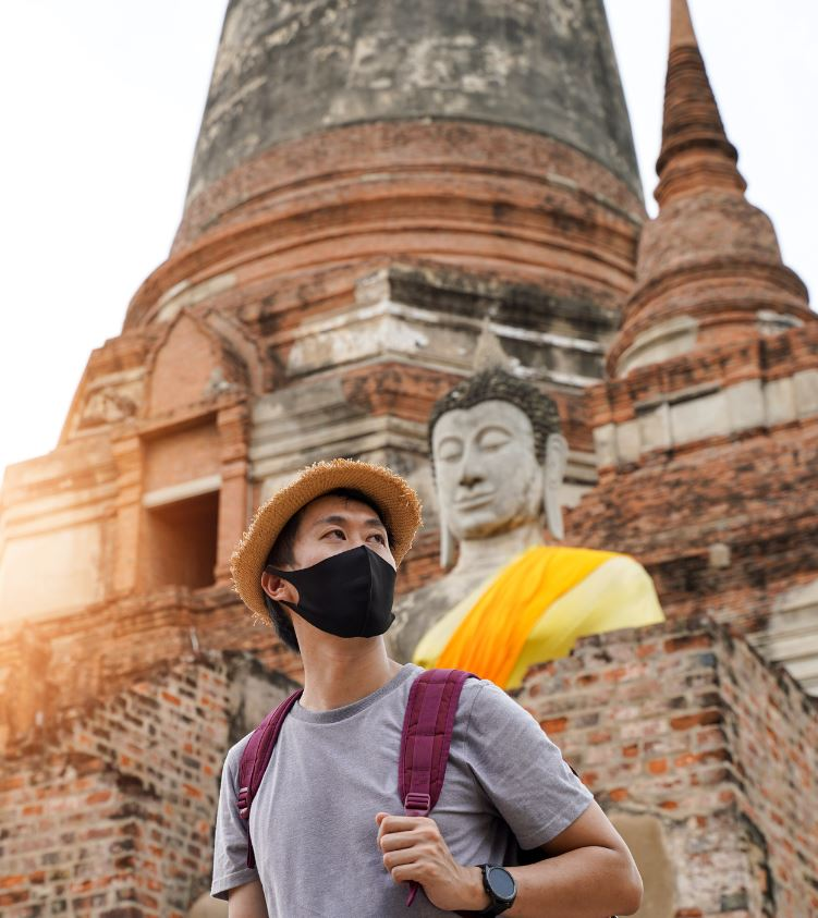 thailand tourist with mask