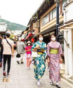 two women masks japan kimono