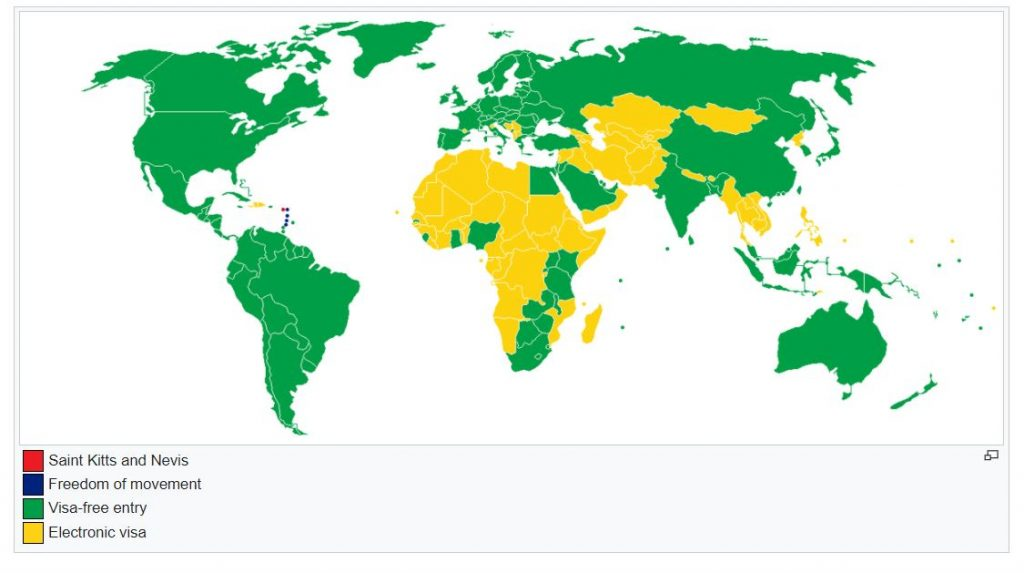 visa requirements st. kitts and nevis