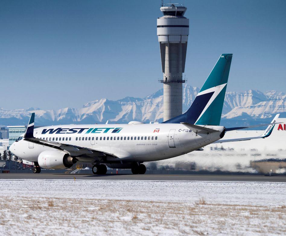 westjet plane at calgary airport