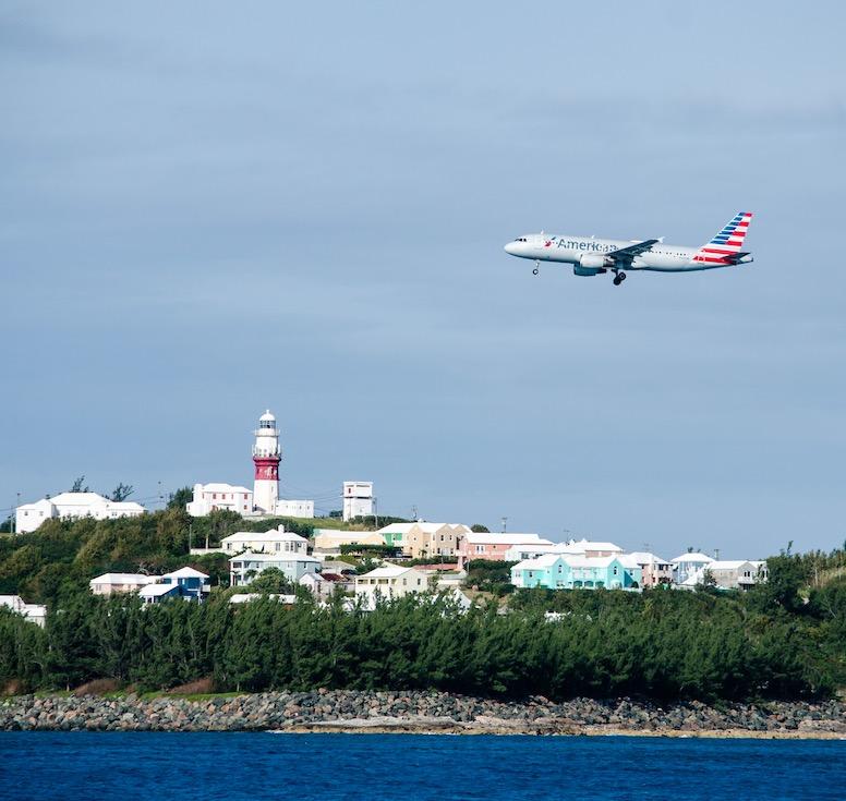 American Airlines plane landing in Bermuda