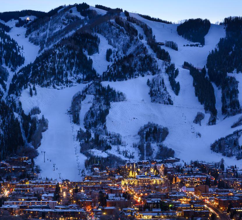 Aspen ski resort at dusk