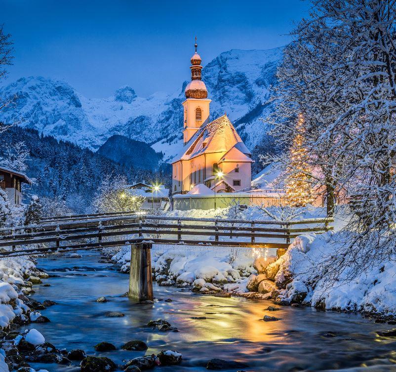 Bavarian church in the snow at christmas