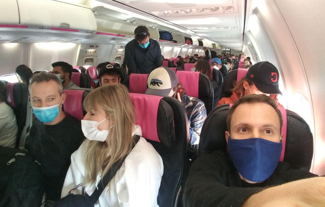 Canada Swoop Flight travelers in masks