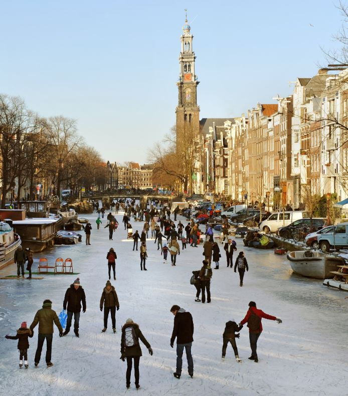 Frozen canal in Amsterdam, Netherlands
