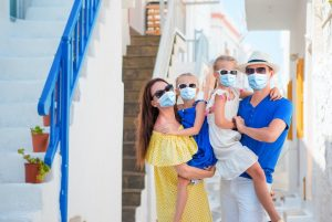 Family who has been vaccinated against Covid-19 in Greece