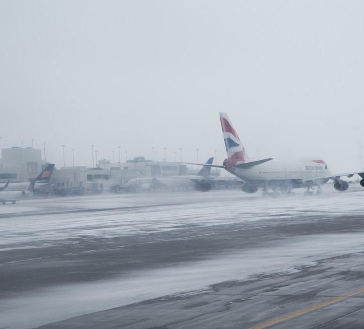 Plane takeoff Denver Colorado winter