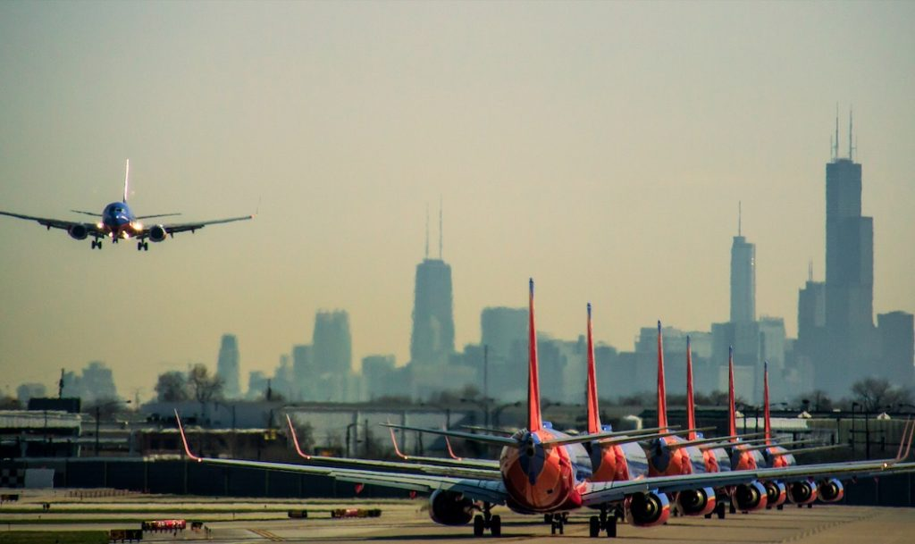 Southwest planes in Chicago
