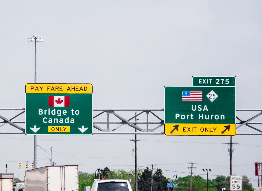US Canada land border