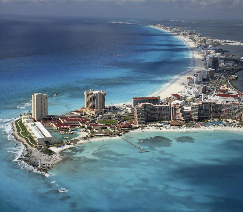 cancun beach aerial