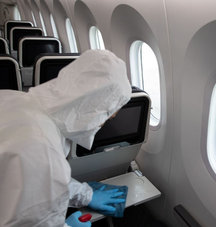 covid cleaning on plane