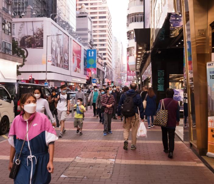 hong kong busy streets masks