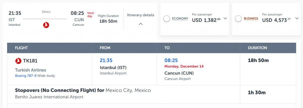 istanbul to cancun