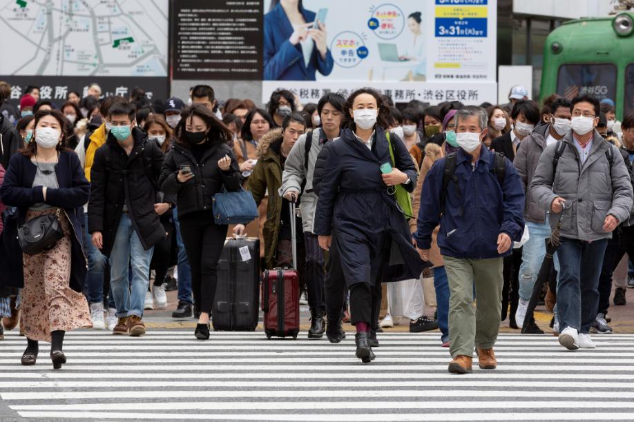 japan covid masks cross road