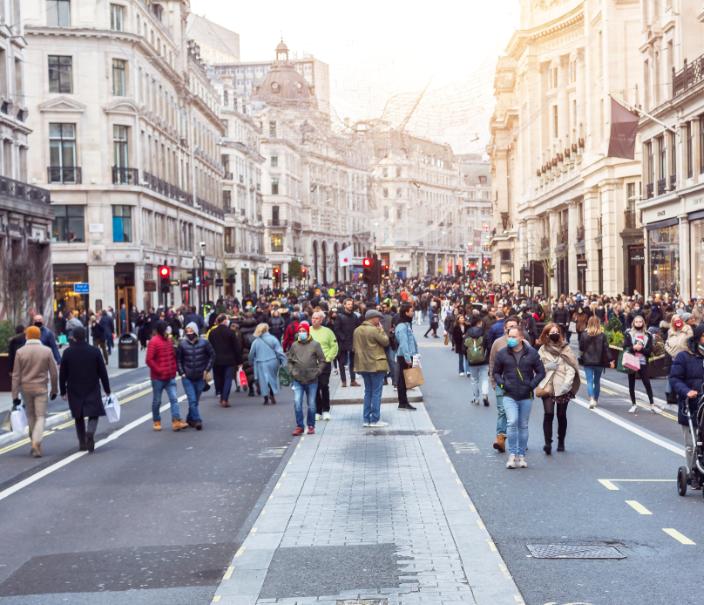 london busy street covid masks