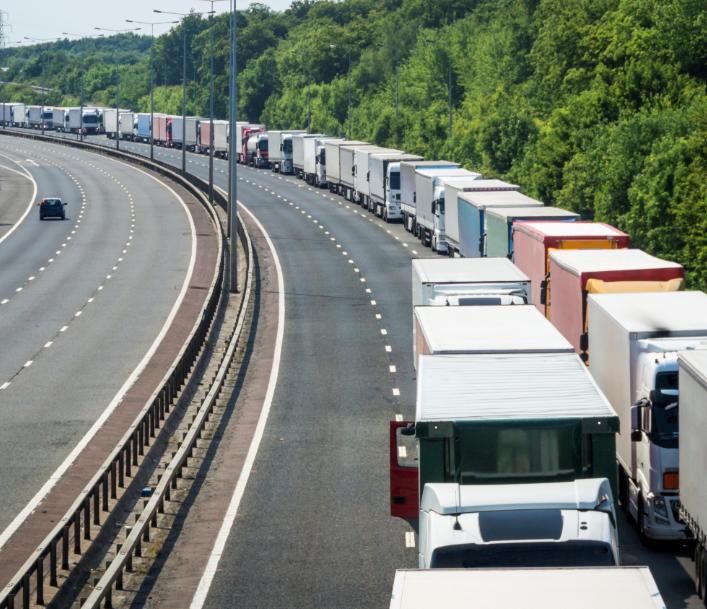 lorries queue traffic motorway