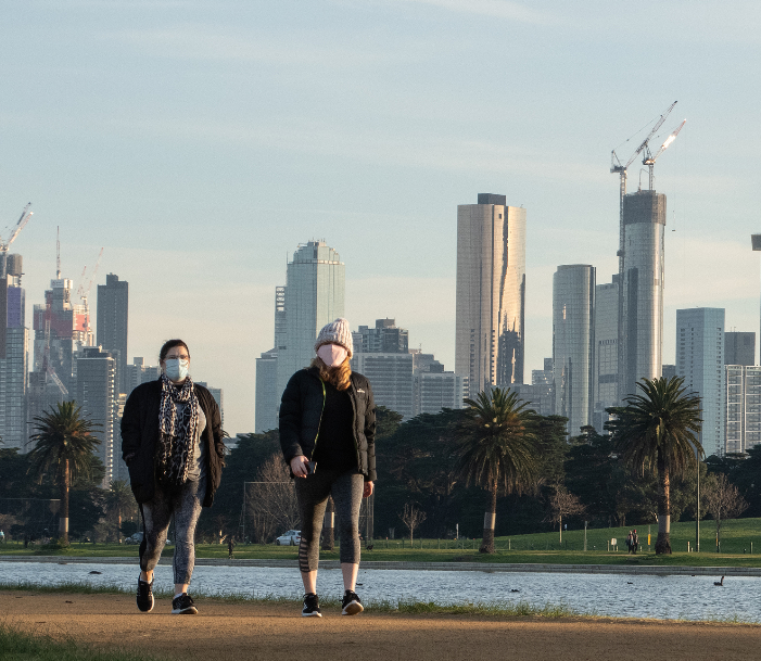 melbourne covid mask walkers