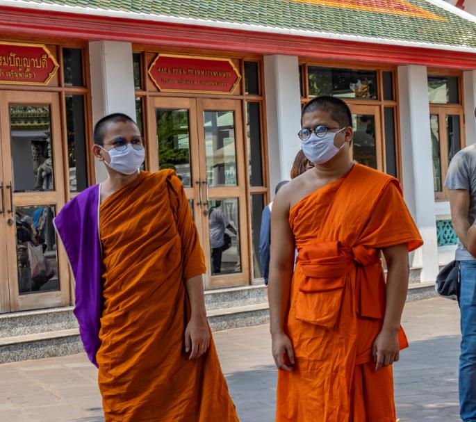 monks thailand masks