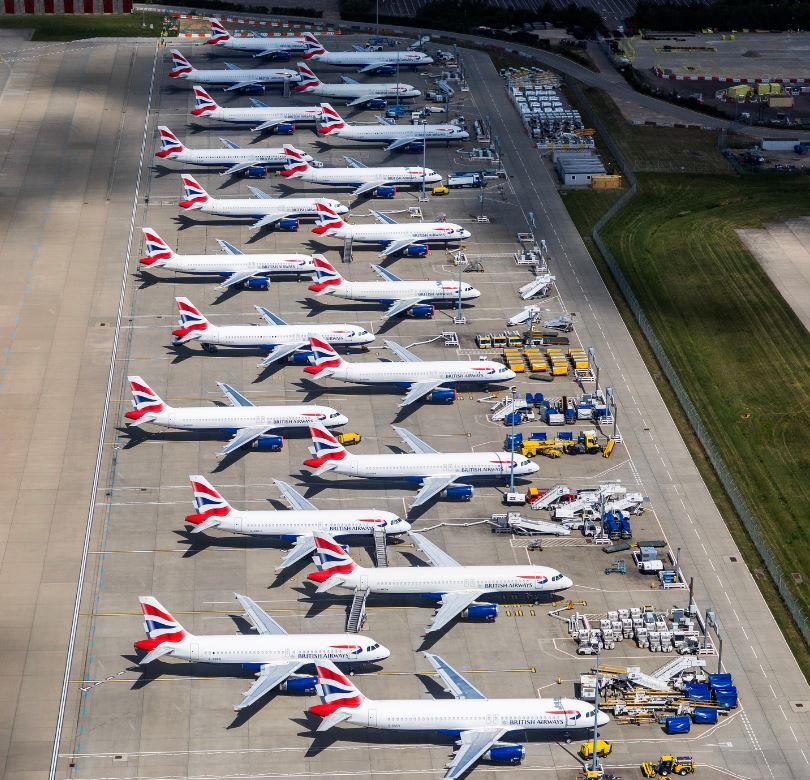 parked british airways plane