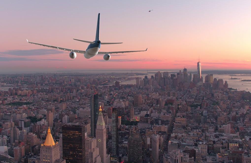 plane above Manhattan