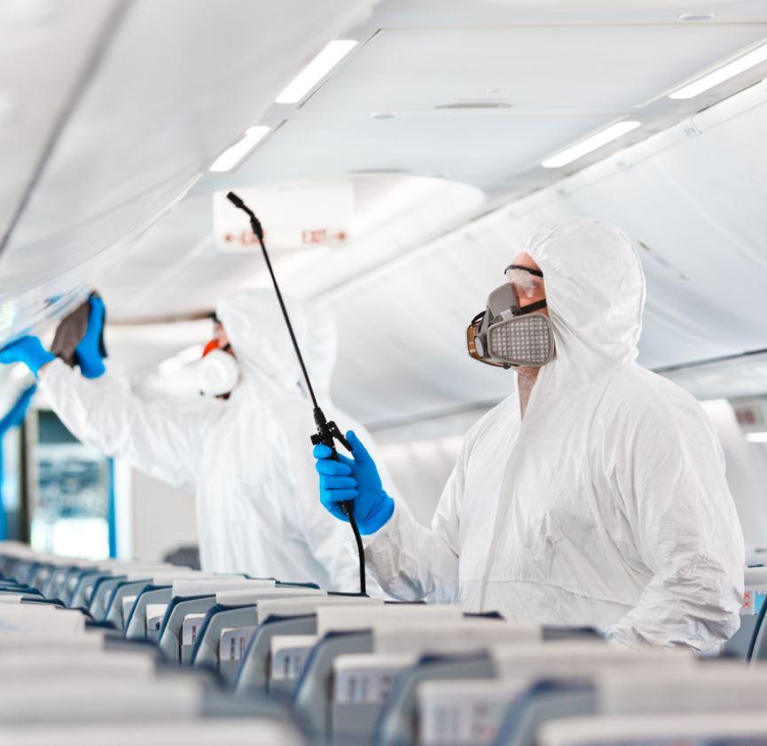 sanitizing airplane