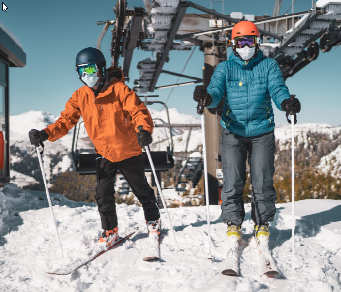 skiers ski mountain covid mask