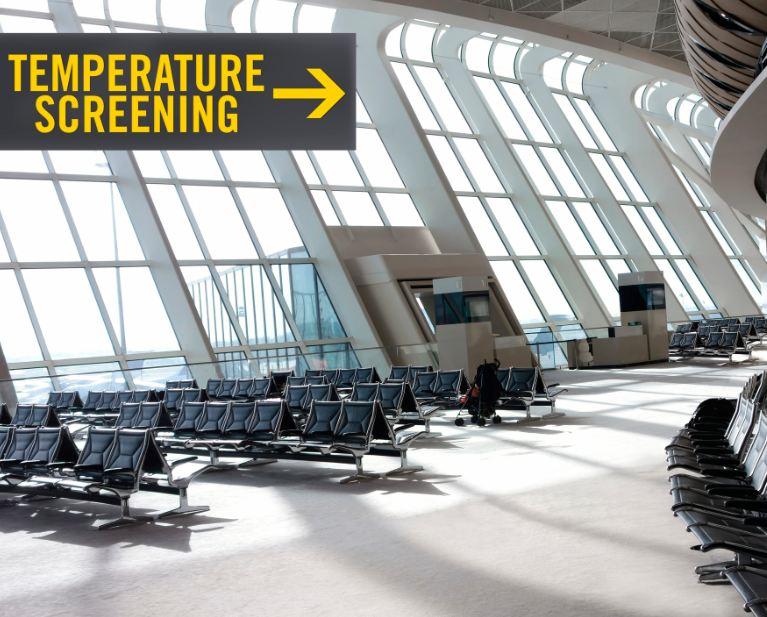 temperature screening sign at airport