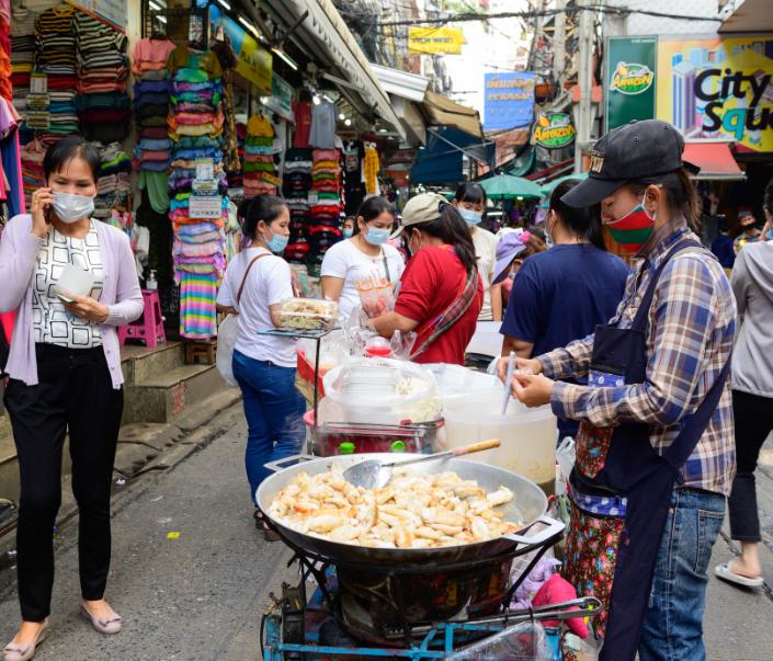 thailand market masks covid food