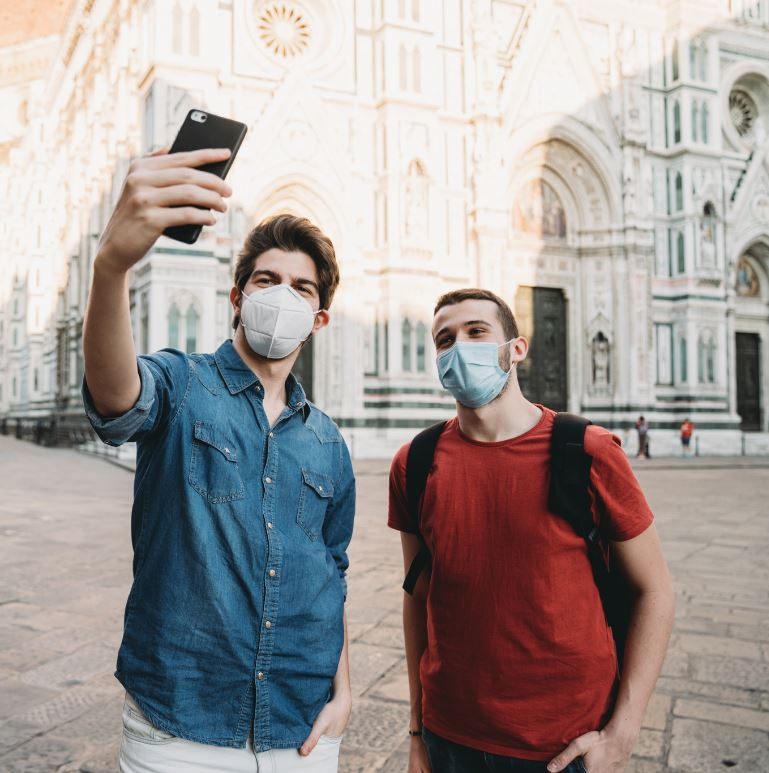 tourists taking selfie in florence
