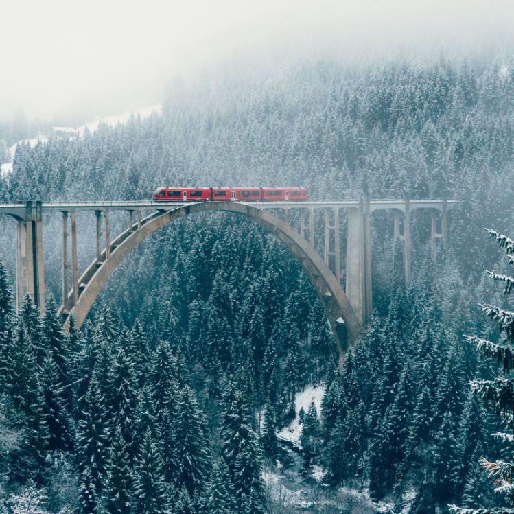 train crossing a viaduct in switzerland